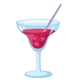 Glass with ice and red drink vector image