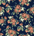 Seamless floral pattern with roses on dark vector image vector image