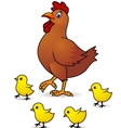 mother hen with baby vector image