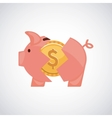 Piggy with money isolated icon design vector image