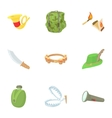 Hunting of animals icons set cartoon style vector image
