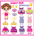 Paper doll princess with a set of clothes vector image