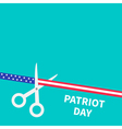 Scissors cut american flag ribbon stars and strip vector image