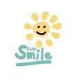 Smile sun doodle Cute vector image