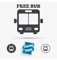 Bus free sign icon Public transport symbol vector image