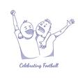 Sport fans celebrating victory vector image