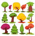 trees flat icons coniferous deciduous vector image