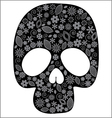 Scull with flower design vector image vector image