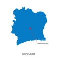 Detailed map of Ivory Coast and capital city vector image