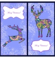Set of christmas cards with deer and snowflakes vector image vector image