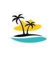 Island with palms sea and sun logo vector image