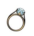 Diamond engagement ring cartoon vector image