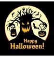 Halloween - pumpkins and old tree vector image