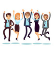happy and smiling workers business people jumping vector image