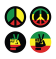 Rasta peace hand gesture icons set vector image