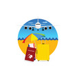 travel symbol with yellow suitcase and passport vector image