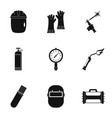 welder instrument icon set simple style vector image