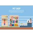 Dog and cat pet shop or store interior vector image