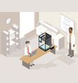 clinic laboratory with medical 3d printer and vector image