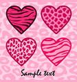 Pink Animal print hearts vector image