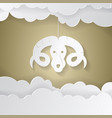horoscope paper cut style concept for aries vector image