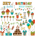 set of Happy Birthday objects vector image
