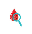 Blood drop test logo vector image