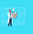 doctor holding clipboard with analysis results and vector image