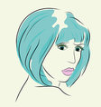 Fashion woman in short hair and pink lip vector image