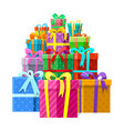 gifts or presents boxes pile vector image