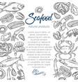 page template hand drawn seafood vector image