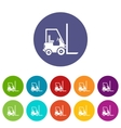 Stacker loader set icons vector image