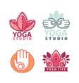 yoga monograms and logos set vector image