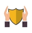 shield and sheltering hands icon vector image