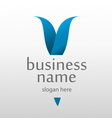 logo with a blue letter v vector image vector image
