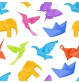 Origami multicolored seamless pattern vector image
