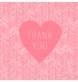 pink thank you card handdrawn vector image vector image
