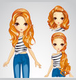 Fashion Girl In Jeens And Collection Of Hairstyles vector image