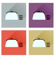 Concept of flat icons with long shadow coin purse vector image