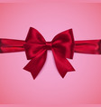 decorative red bow with horizontal ribbon vector image