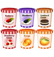 different flavors of icecream in cups vector image