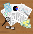 economic analysis of graphs and diagrams vector image