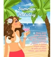 Holiday poster with woman vector image