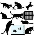 pet cat silhouette vector image