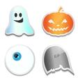 Set of Halloween stickers Pumpkin ghost eye R vector image
