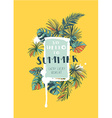 Tropical floral summer party poster with palm vector image