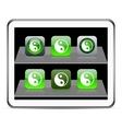 Ying yang green app icons vector image