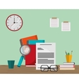 Work time and office supplies design vector image