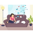 Woman sitting with laptop on the sofa at home and vector image