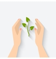 green plant in hands symbol vector image
